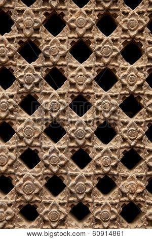 Stone Latticework With Flowers Pattern