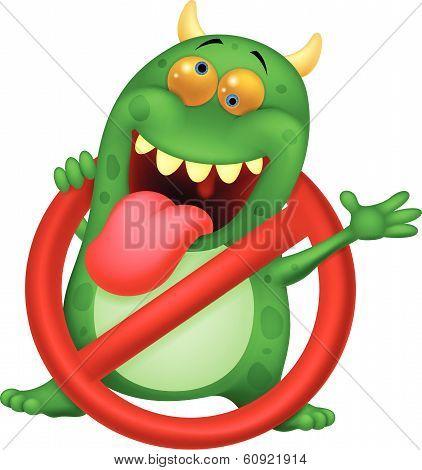 Cartoon Stop virus - green virus in red alert sign