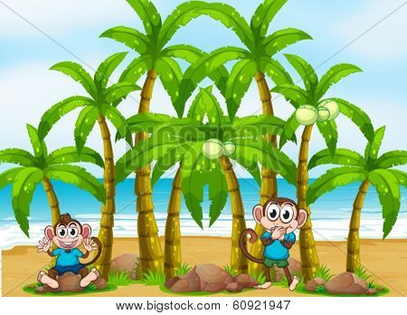 Illustration of a beach with tall coconut trees and playful monkeys