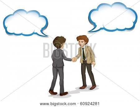 Illustration of the businessmen shaking their hands with empty callouts on a white background