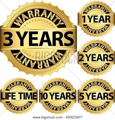 Warranty Golden Label Set, Warranty Vector Illustration