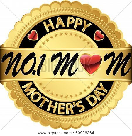 Happy Mother's Day Golden Label, Vector Illustration