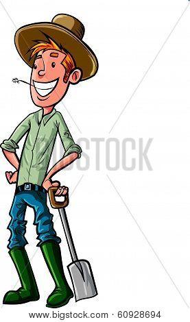 Cartoon Farmer with hat and spade.