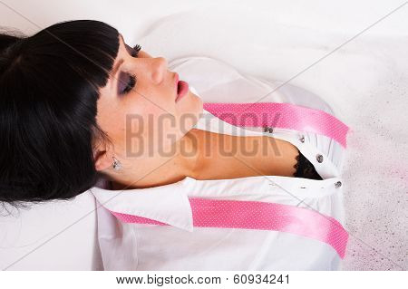 Attractive Woman Enjoying Bath With Clothes