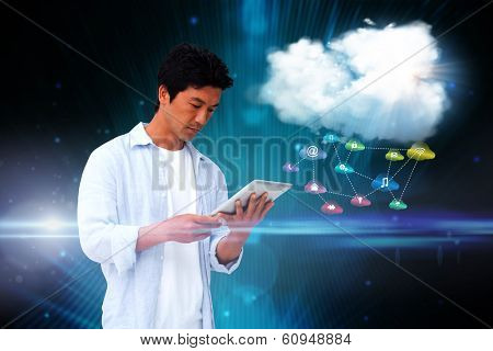 poster of Digital composite of casual man using tablet with app icons and cloud