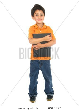 Little School Boy Holding A Notebook