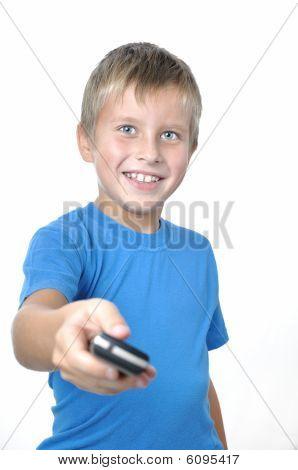 Young Man Handing Cellphone Foward