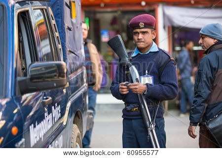KATHMANDU, NEPAL - DEC 2, 2013: Polices during protest within a campaign to end violence against women (VAW). Held annually since 1991, 16 days from Nov 25 to Dec 10.