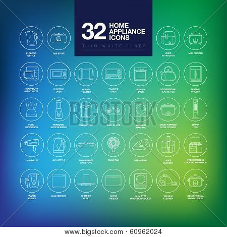 A set of home appliance icons including kitchen appliances, small domestic appliances, air treatment appliances, house keeping appliances, etc poster