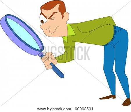 Casually dressed man looking through huge magnifying glass at floor