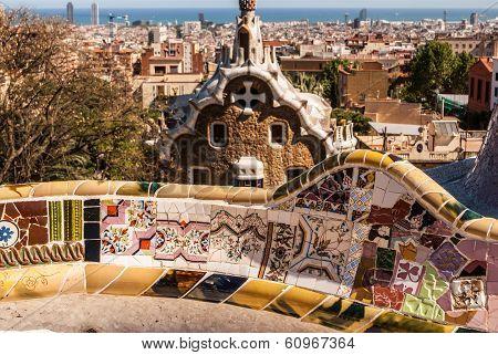 Barcelona Park Guell of Gaudi tiles mosaic serpentine bench modernism poster