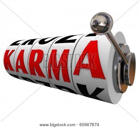 Karma Word Slot Machine Wheels Destiny Fate Good Luck