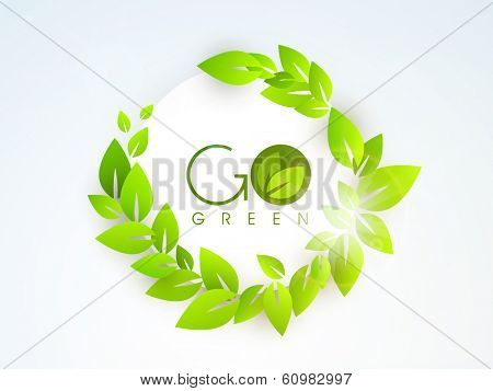 Save the Nature concept with stylish text Go Green and green leaves on blue background.