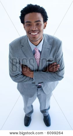 High Angle Of Businessman With Folded Arms
