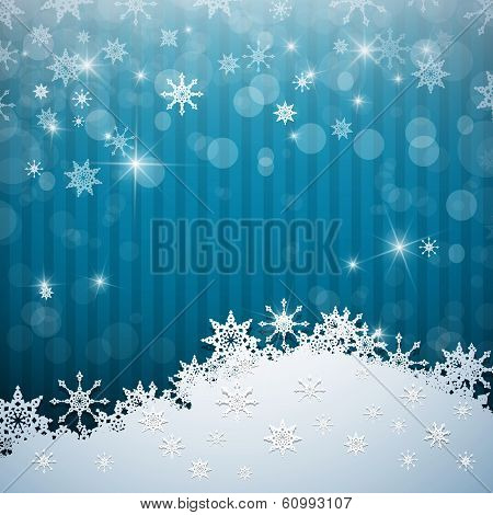 Abstract Blue Vector Background. Snow, Christmas.