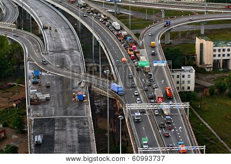 Top View On Construction Of Ring Road Around Saint-petersburg, Russia.