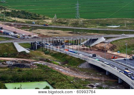 Russia, Traffic Flow, At Under Construction Section Of Ring Road.