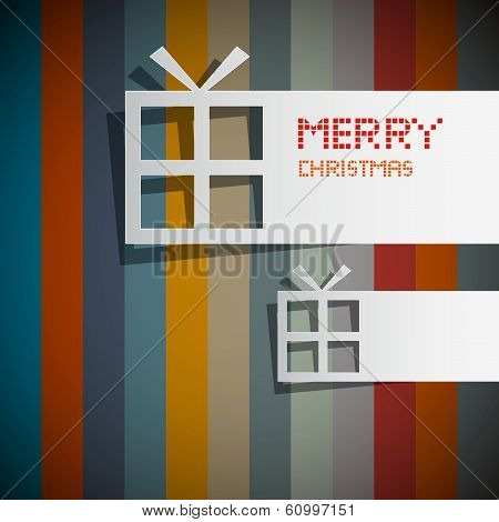 Retro Vector Christmas Theme - Present Boxes Made From Paper