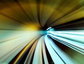 Train moving fast in tunnel poster