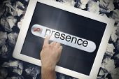 Hand touching the word presence on search bar on tablet screen on crumpled papers poster