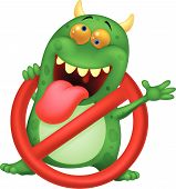 Vector illustration of Cartoon Stop virus - green virus in red alert sign poster
