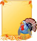 Cartoon turkey strutting with plumage. Elements are layered for easy editing. Great for invitations, announcements, place cards, etc. poster