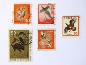Art stamps from Japan was more than 20 years bird and chicken series. poster
