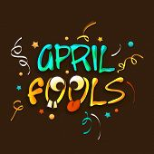 Happy Fool's Day funky concept with colorful stylish text on brown background. poster