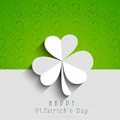 Happy St. Patrick's Day celebrations concept with beautiful Irish lucky shamrock leaf on green and grey background.  poster