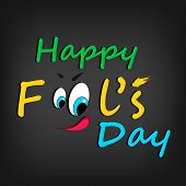 Happy Fool's Day funky concept with  stylish text and funny face on grey background. poster