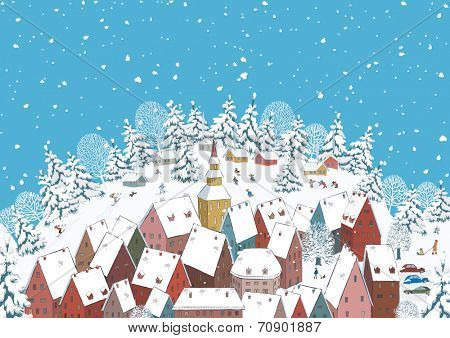 Snowy roof of houses of a small town and many children sporting and having fun outdoors.