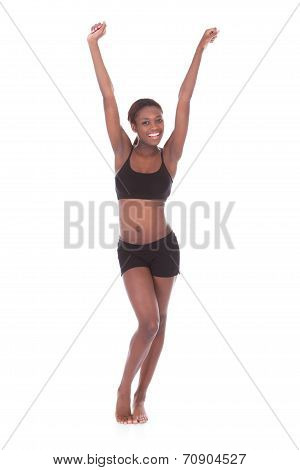 Happy Young Woman In Undergarments Celebrating Success