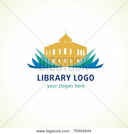 Library, high school or university logo. Open book and old historic building vector sign. Museum icon.