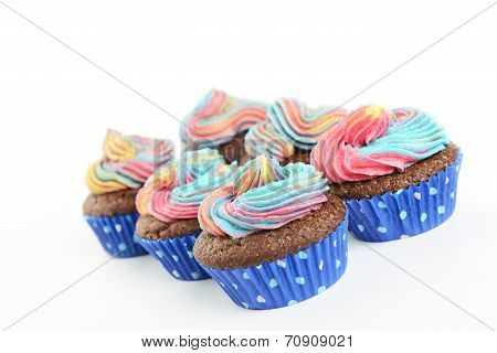 Cupcakes with multi colour icing