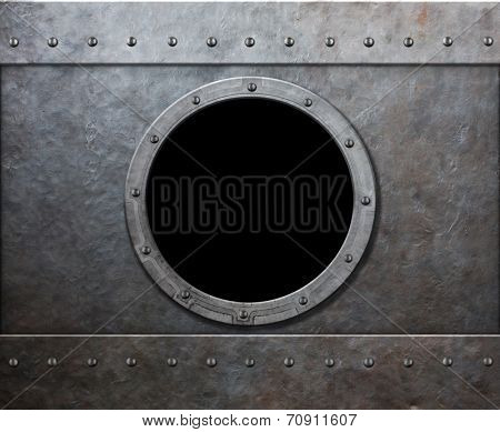 steam punk submarine or military ship window