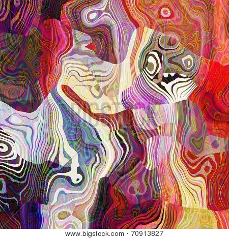 art abstract colorful chaotic waves pattern; background in purple, white, red, orange and violet colors
