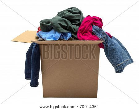 Box Of Clothing Isolated On White