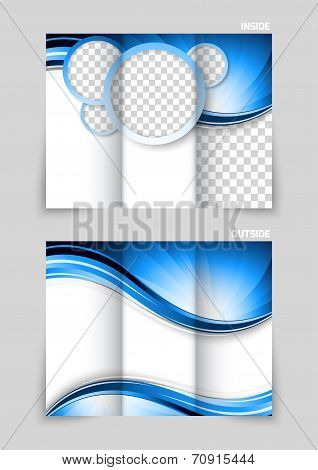 Tri-fold brochure design with blue circles and wave poster