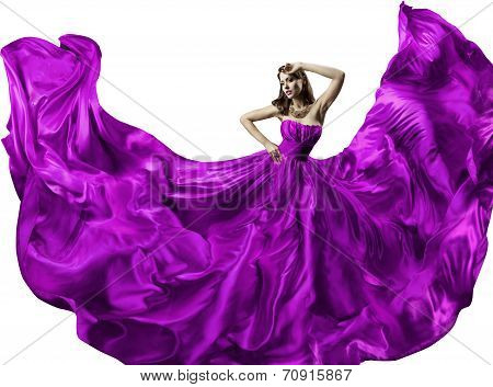 Woman Silk Dress, Long Fluttering Train, Girl Purple Fabric Clothes With Long Hairs, White Isolated
