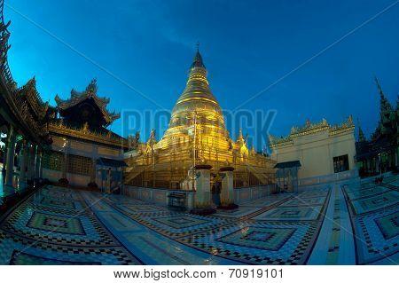 Night Scene Of Soon U Pone Nya Shin Pagoda,Myanmar.