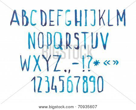 Blue watercolor aquarelle font type handwritten hand draw doodle abc alphabet letters and numbers.