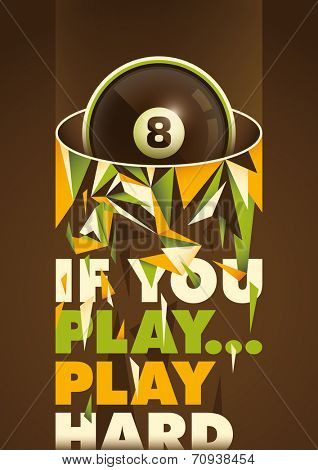 Conceptual billiards poster. Vector illustration. poster