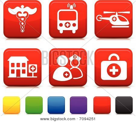 Medical Icons On Square Internet Buttons