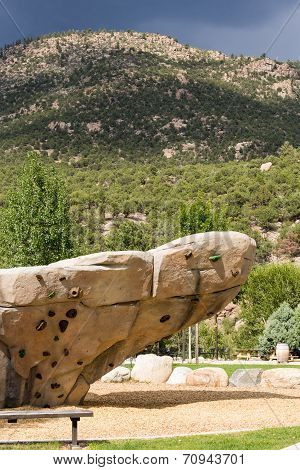 Climbing Wall With Mountains In Background