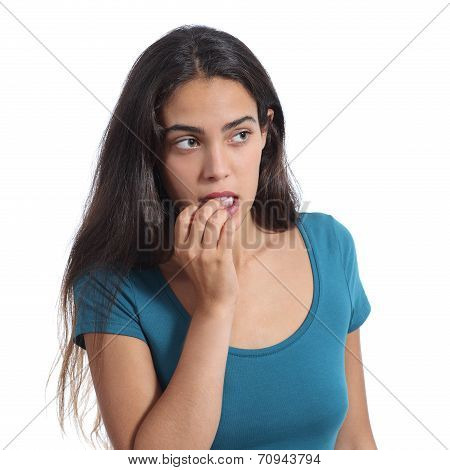 Nervous Teenager Girl Biting Nails
