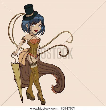 vector steampunk  women