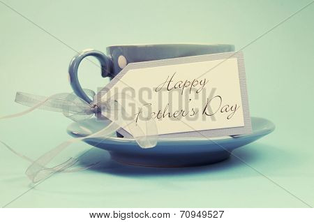 Happy Fathers Day Gift Tag With A Cup Of Coffee Or Tea For Dad In A Blue Polka Dot Cup And Saucer Ag