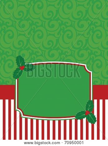 Elegant Striped Christmas Notecard with copy space