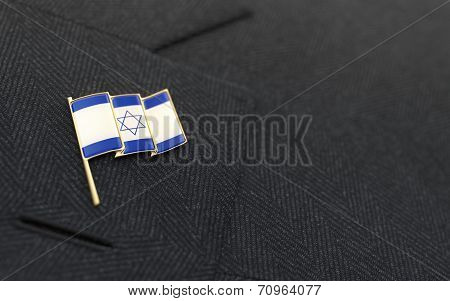 Israel Flag Lapel Pin On The Collar Of A Business Suit