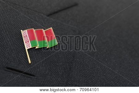 Belarus Flag Lapel Pin On The Collar Of A Business Suit